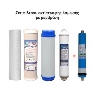 Σετ φίλτρων αντίστροφης όσμωσης με μεμβράνη